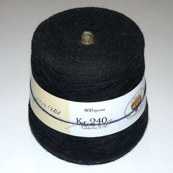 800 gram 100% uld til håndstrik, maskinstrik og vævning - Sort