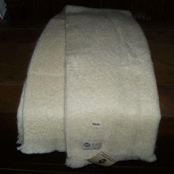 Super soft børstet Mohair plaid fra Naturfiber a/s - Hvid