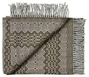 Lækker tynd Skandinavisk uld plaid fra Silkeborg uldspinderi - Chokolade på grå bund