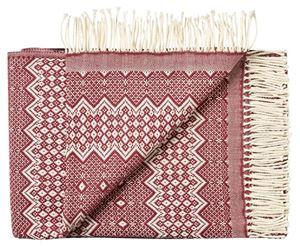 Lækker tynd Skandinavisk uld plaid fra Silkeborg uldspinderi - Vinrød på grå bund