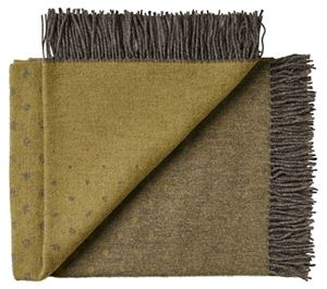 Lækker tynd Alpaka og Merino uld plaid fra Silkeborg uldspinderi - Mosgrøn