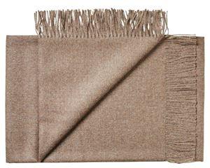 Lækker tynd Baby Alpaka uld plaid fra Silkeborg uldspinderi - Mørk kamel