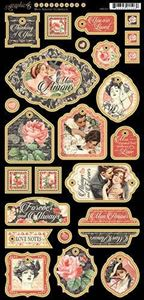 Dekorativ chipboard i pap fra Graphic 45 - Mon Amour
