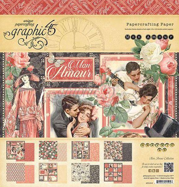 Papir blok 12x12 fra Graphic 45 - Mon Amour