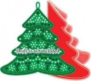 """Juletræ doilies med pynt og """"Best Wishes"""" standsejern til scrapbooking og kort DL144"""