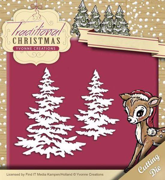 Yvonne Creations Traditional Christmas, Grantræer - YCD10053 standsejern til scrapbooking