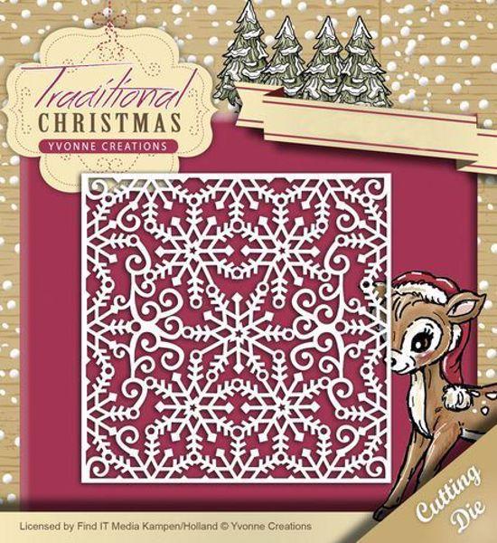 Yvonne Creations Traditional Christmas, Snefnug - Snowflake Frame YCD10055 standsejern til scrapbooking
