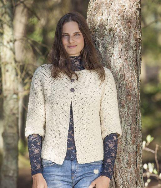 Hæklet trøje med rundt bærestykke i Cataluna - Et rent uldprodukt fra CeWeC - 2308