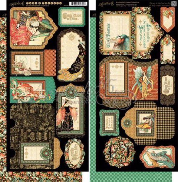 Tags og lommer i karton fra Graphic 45 - Enchanted Forest