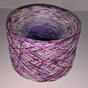 Unikt håndmalet silke noil til sommerstrik og vævning fra Ægbækgaard - Lilla, vinrød og råhvid