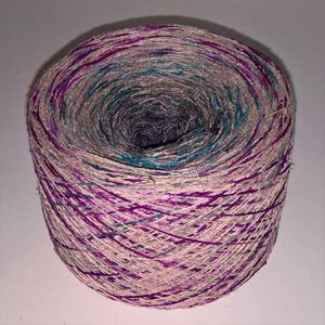 Unikt håndmalet silke noil til sommerstrik og vævning fra Ægbækgaard - Rødviolet, råhvid, turkis og grå