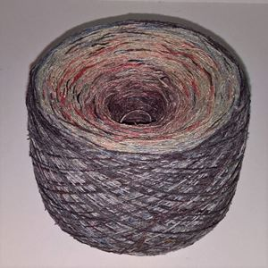 Unikt håndmalet silke noil til sommerstrik og vævning fra Ægbækgaard - Grålilla, tegrøn, rosa, bærrød og rødlilla