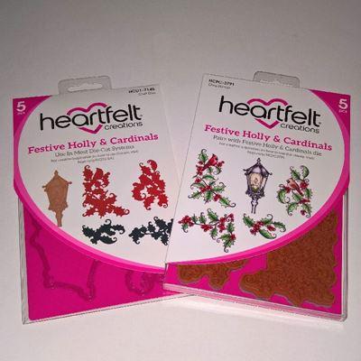 Festive Holly & Cardinals-  dies og stempelsæt fra Heartfelt Creations - HCPC-3791 og HCD1-7145