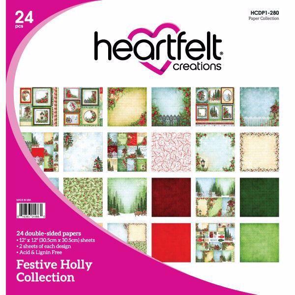 Festive Holly Collection - Designblok fra Heartfelt Creations - HCDP1-280