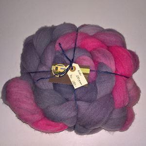 Kæmmet Eider tops - klar til spinding - Håndmalet - Stålgrå til varm rosa