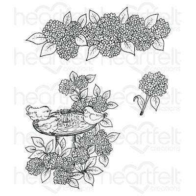 Hydrangea Bird Bath Stempel fra Heartfelt Creations HCPC-3647