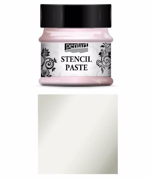Stencil Paste - 50 ml - fra Pentart - Pearl Ice Flower