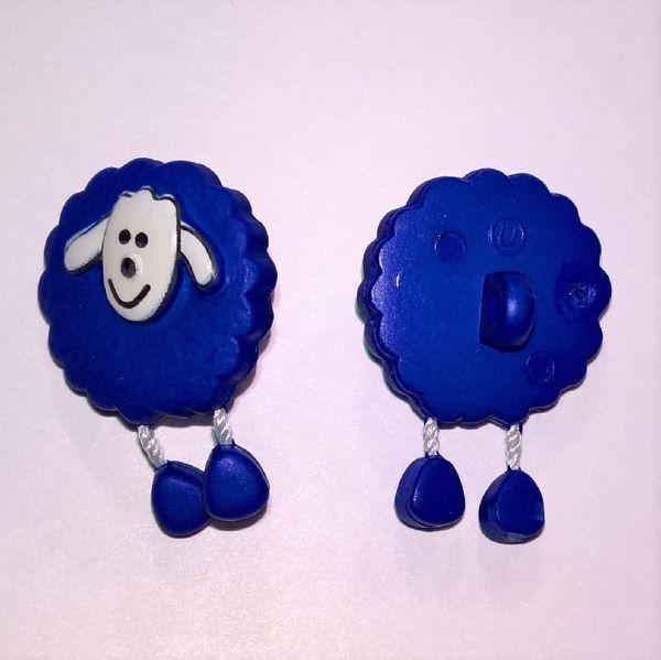 Blå  fåreknap med dingle ben af plastic