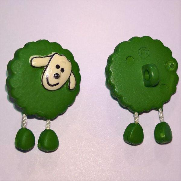 Grøn fåreknap med dingle ben af plastic