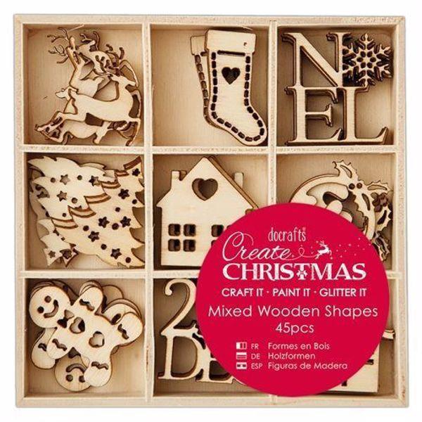 Dekorations julemotiver af træ fra Docraft - PMA 105946