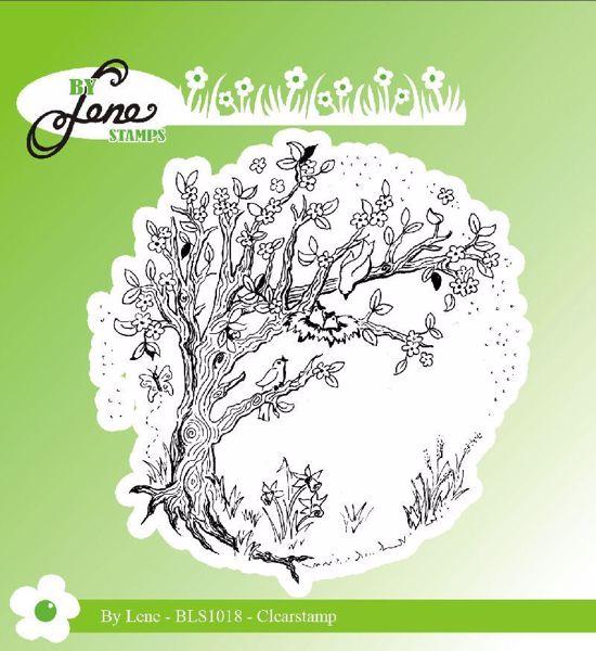 By Lene Stempler - Spring tree - træ med fugle - BLS1018 - Silikone Stempel til scrapbooking og kort