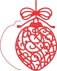 Ornamenteret Julekugle dies fra Cherry Lynn Designs - standsejern til scrapbooking og kort - B478