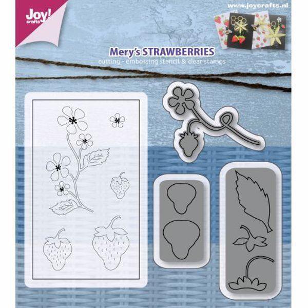 Mery´s Strawberries - Jordbær - Silikone stempel og standsejern sæt til scrapbooking og kort - 6004/0019 fra Joy Crafts