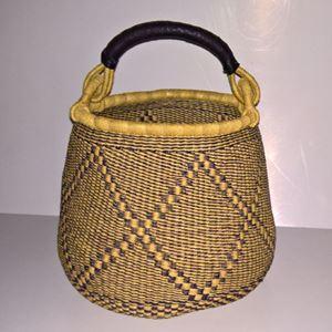 Hammershus Fairtrade Pot Basket af elefantgræs - Natur og blå