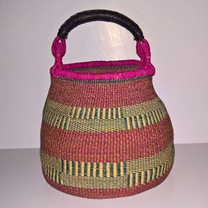 Hammershus Fairtrade Pot Basket af elefantgræs - Natur, grøn, turkis og pink
