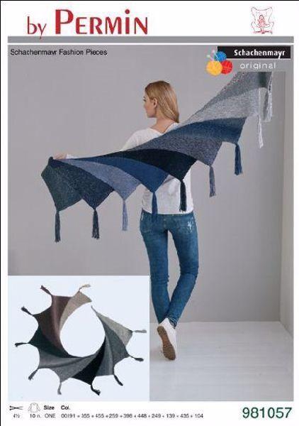 Tørklæde med venderækker og takker fra Schachenmayr Original by Permin