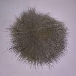 Pels Pompon af ræv til pynt på huer, tasker og sko mm - Grå