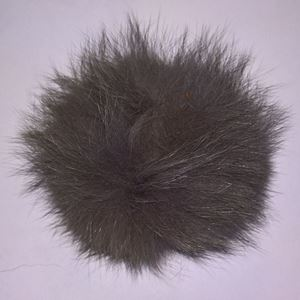 Pels Pompon af ræv til pynt på huer, tasker og sko mm - Mørke Grå
