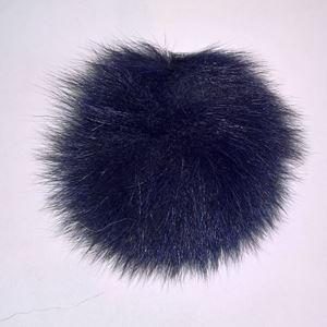 Pels Pompon af ræv til pynt på huer, tasker og sko mm - Marineblå
