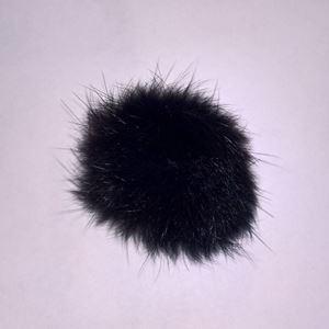 Pels Pompon af kanin til pynt på huer, tasker og sko mm - Sort