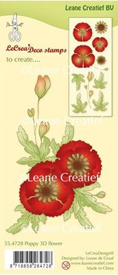 Valmue Blomster og blade fra Leane Creatief - dies standsejern og silikone stempel sæt incl. instruktion