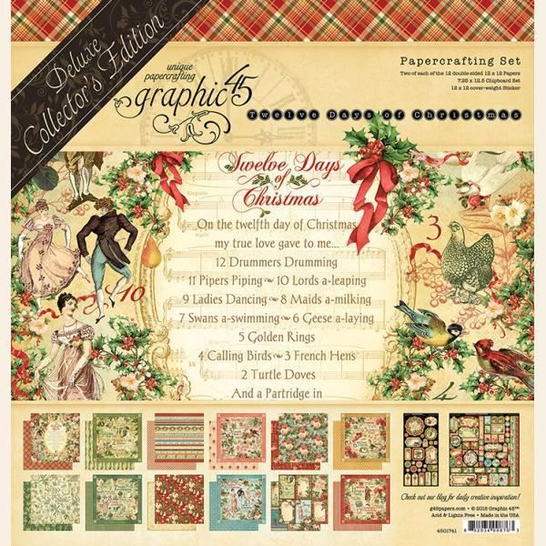Papir blok 12x12 mm fra Graphic 45 - Twelve days of christmas - Deluxe Collector's Edition