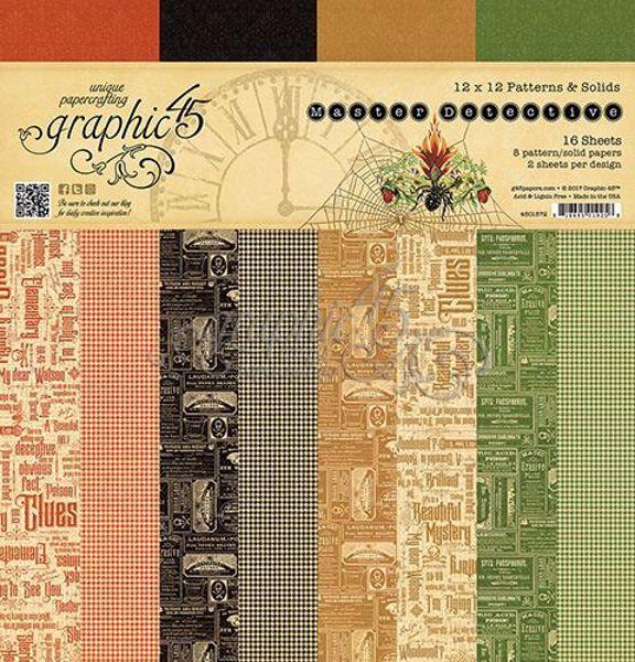 Papir blok 12x12 Patterns & Solids fra Graphic 45 - Master Detective