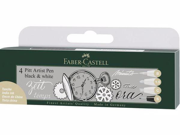 Faber-Castell 4 PITT artist pens black & white til tegning og sketching