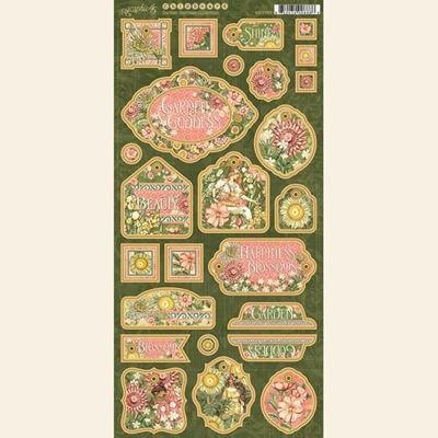 Dekorativ chipboard i pap fra Graphic 45 - Garden Goddess