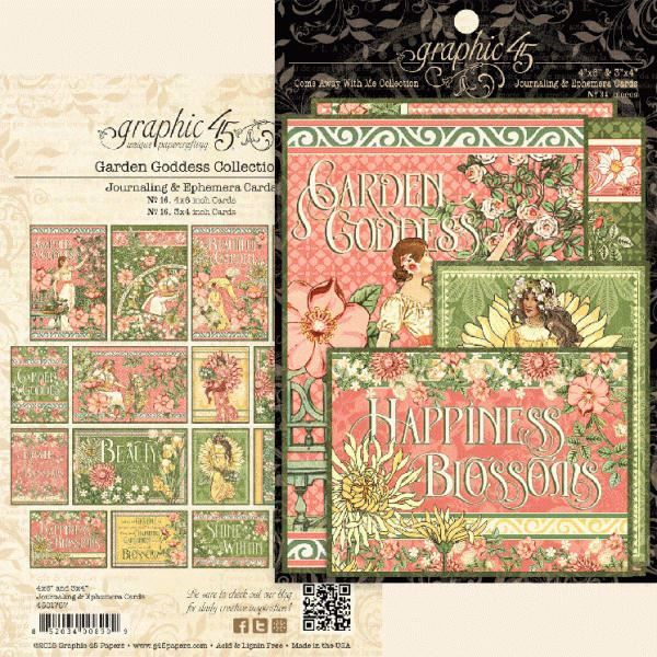 Kort i karton fra Graphic 45 - Garden Goddess - Journaling & Ephemera