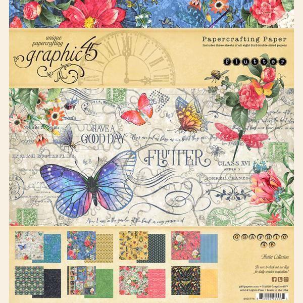 Papir blok 8x8 fra Graphic 45 - Flutter
