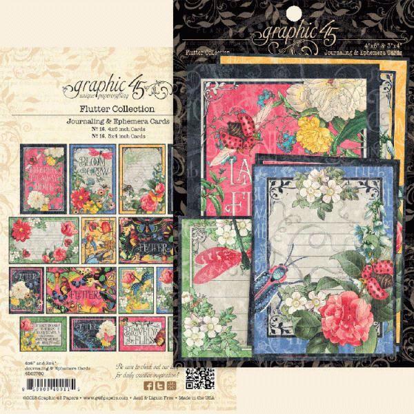 Kort i karton fra Graphic 45 - Flutter - Journaling & Ephemera