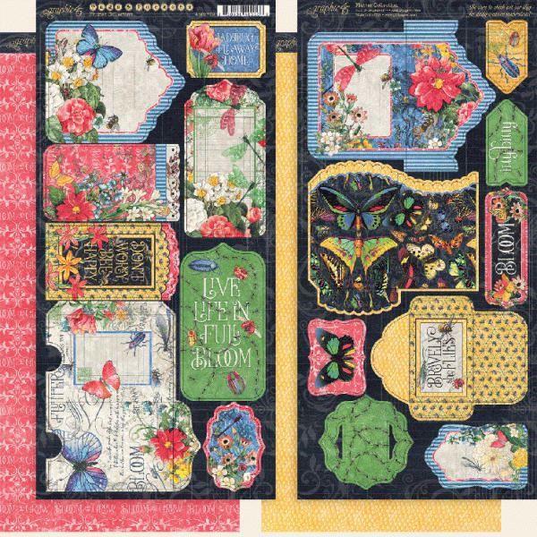 Tags og lommer i karton fra Graphic 45 - Flutter til scrapbooking og kort