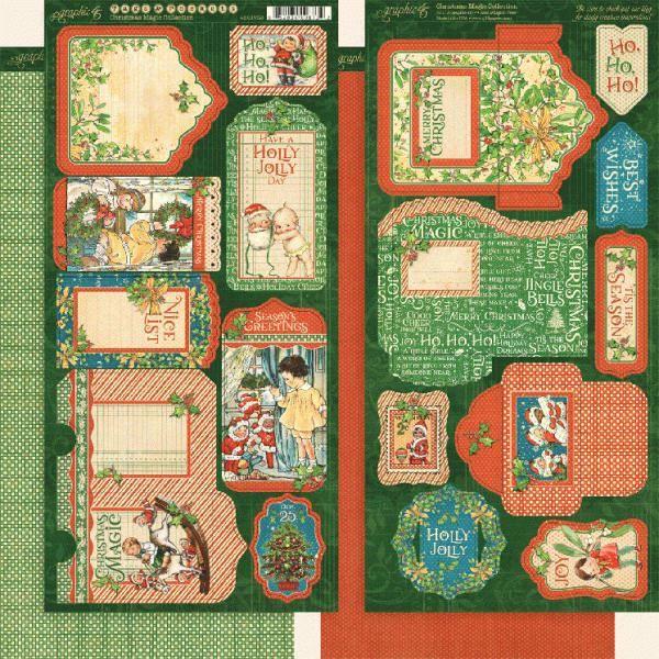 Tags og lommer i karton fra Graphic 45 - Christmas Magic til scrapbooking og kort