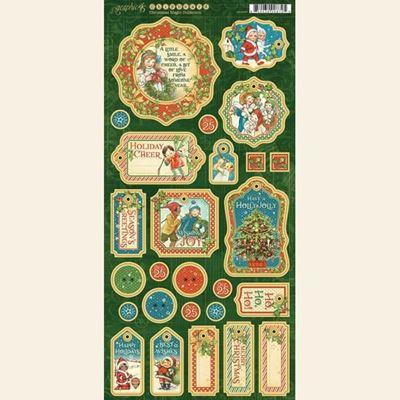 Dekorativ chipboard i pap fra Graphic 45 - Christmas Magic til scrapbooking og kort
