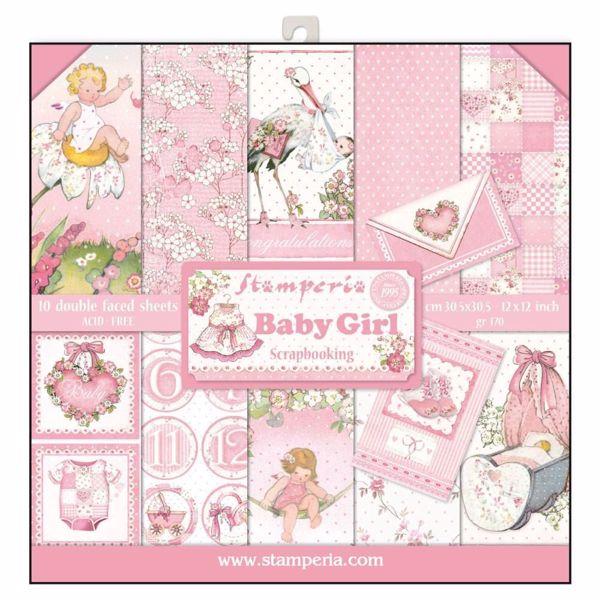 Stamperia Baby Girl design papir pakning til scrapbooking og kort - SBBL41