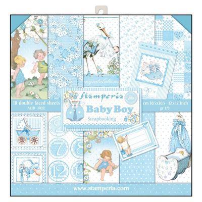Stamperia Baby Boy design papir pakning til scrapbooking og kort - SBBL40