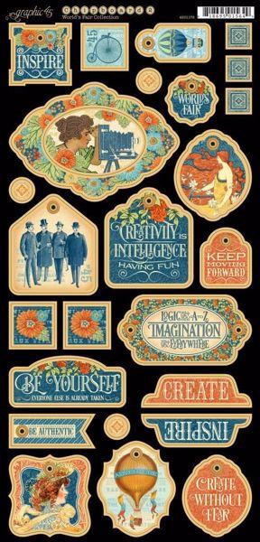 Dekorativ chipboard i pap fra Graphic 45 - Worlds Fair 4501179