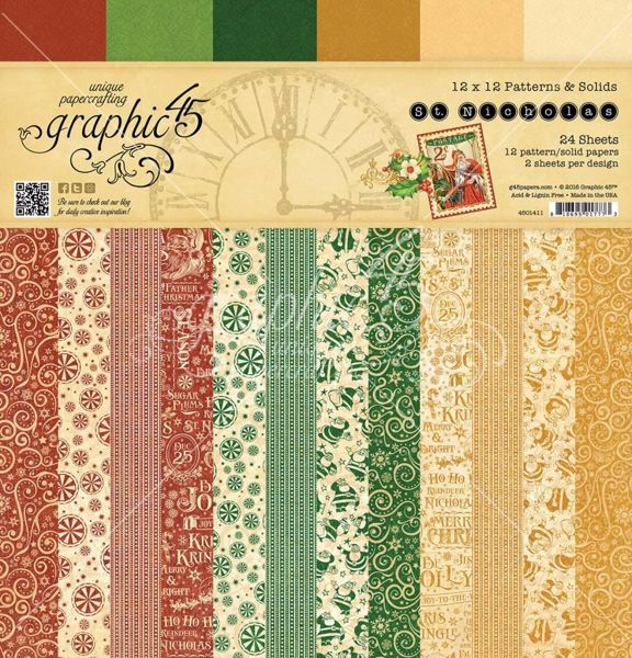 Papir blok 12x12 Patterns & Solids fra Graphic 45 - St. Nicholas