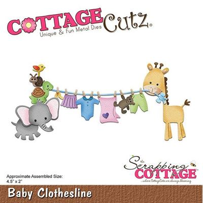 Cottage Cutz Baby tøjsnor - Baby Clothesline standsejern til scrapbooking - CC-279